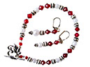Lady in Red Necklace and Earrings