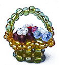 Yellow Basket of Flowers - Made with Beads